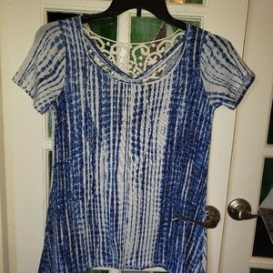 FRED DAVID Top in Blue and Lace Trim S